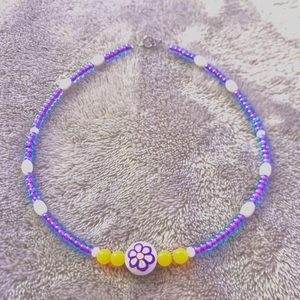purple flower charm necklace